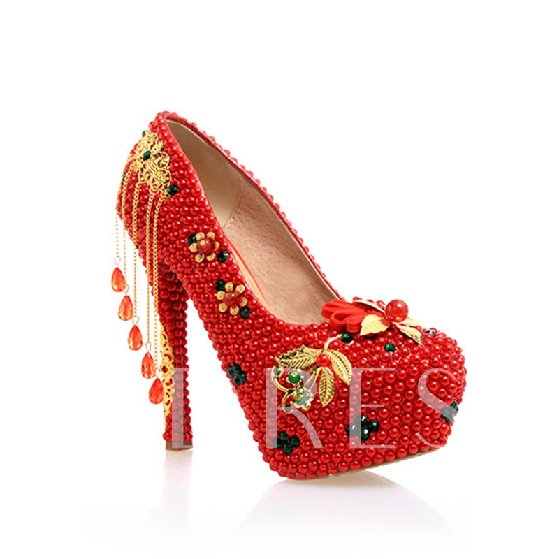 Fringe Rhinestone Platform Vintage style Red Wedding Shoes