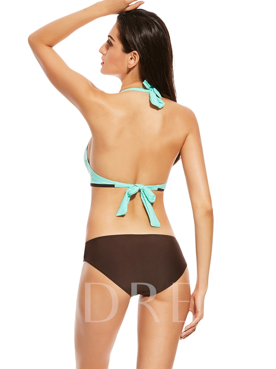 Metal Ring Color Block Backless One Piece Swimsuit