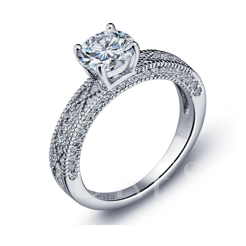 Cubic Zircon 925 Sterling Silver Engage Ring