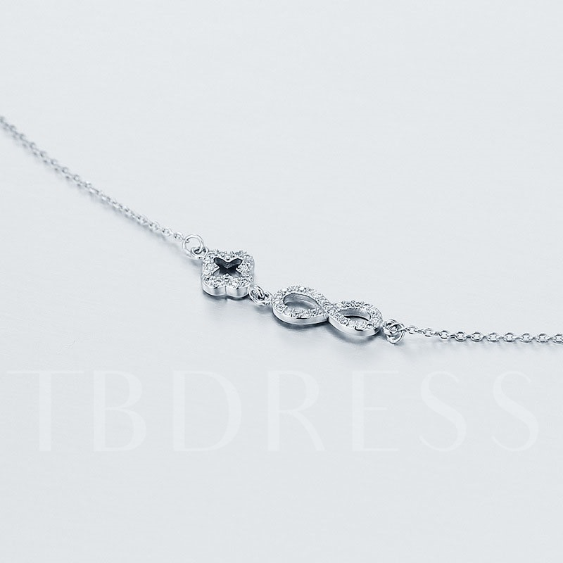 S925 Fine Silver Hollow Out Four-Leaf Clover Necklace