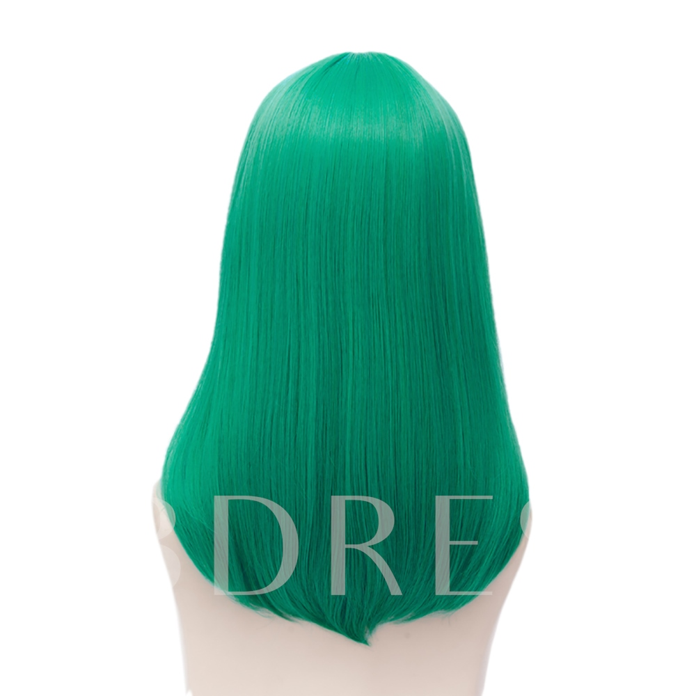 Green Straight Synthetic Hair Capless Cosplay Wig 18 Inches (Average)