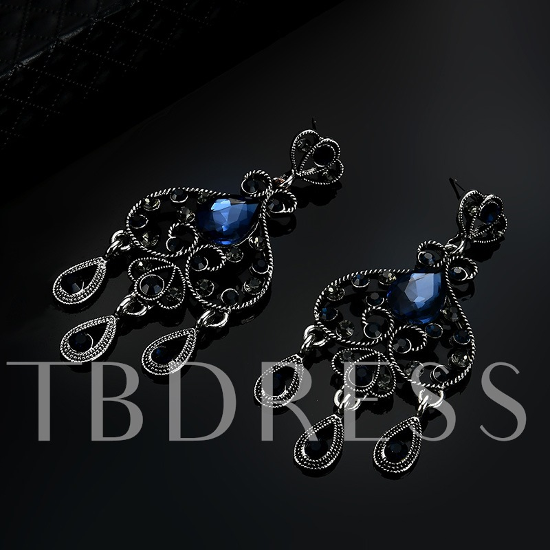 Hollow Out Heart Pear Zircon Inlaid Earrings
