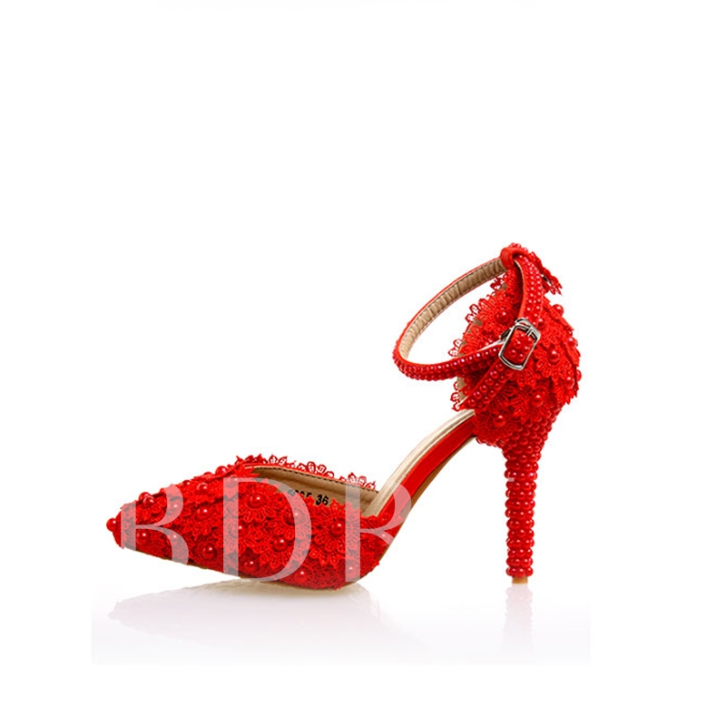 Pointed Toe Line-Style Buckle Beads Lace Red Wedding Shoes for Women