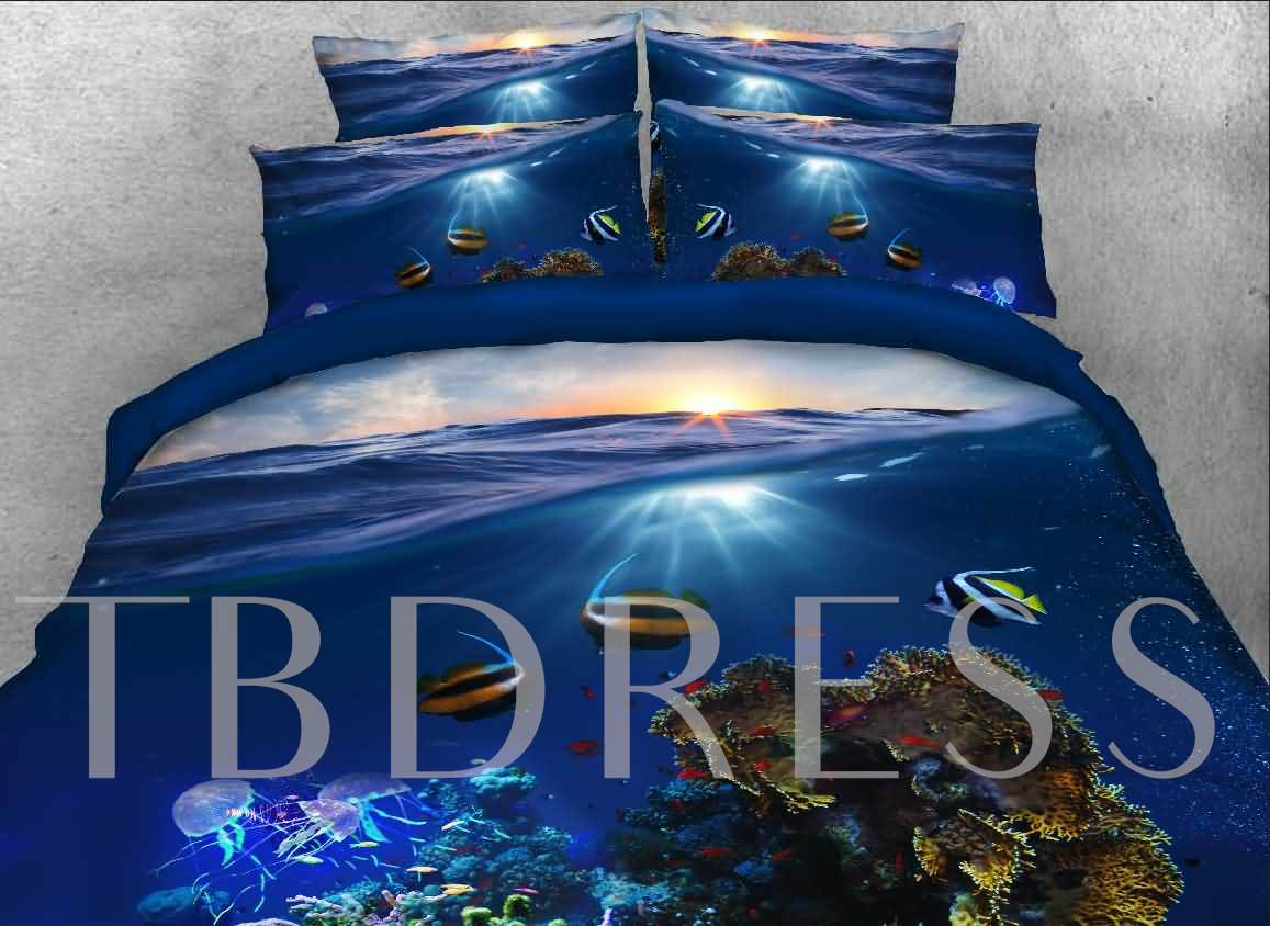 Tropical Fish Printed Cotton 4-Piece 3D Bedding Sets/Duvet Covers