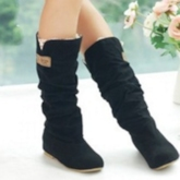 Suede Slip-On Mid-Calf Boots Women's Casual Shoes
