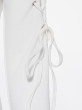 White Lace up Back Split Women's Sheath Dress