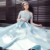 Scoop A-Line Appliques Bowknot Sashes Floor-Length Evening Dress