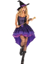 Solid Swallowtail Sleeveless Lace Witch Costume