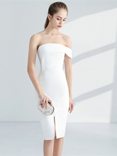 Split-Front Off-the-Shoulder Sheath Knee-Length Cocktail Dress