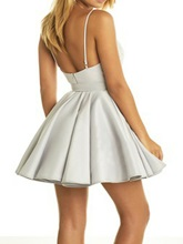 Appliques Deep V-Neck Silver Homecoming Dress