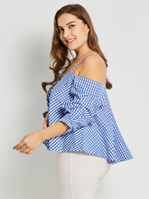 Spaghetti Straps Plaid Plus Size Women's Blouse