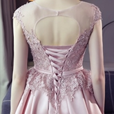 A-Line Cap Sleeves Appliques Sashes Bowknot Knee-Length Homecoming Dress