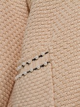 Plain Woolen Fabric with Bead and Pockets Women's Cardigan