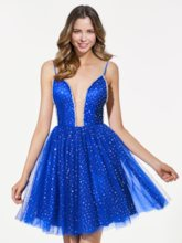 Sequins Spaghetti Straps Backless Royal Blue Homecoming Dress