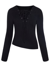 Lace-up Slim V-neck Asymmetric Women's Knitwear