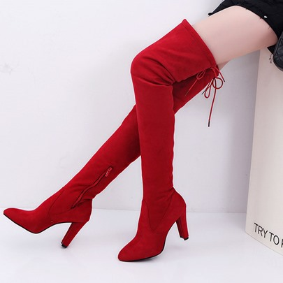 Thigh High Boots Chunky Heel Lace-Up Side Zipper Womens Shoes Thigh High Boots Chunky Heel Lace-Up Side Zipper Women's Shoes