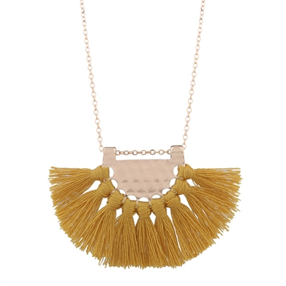 Fanshaped String Bunch Tassel Golden Link Chain Sweater Necklaces