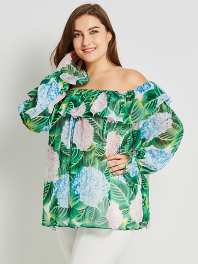 Floral Plus Size Falbala Pullover Women's Blouse