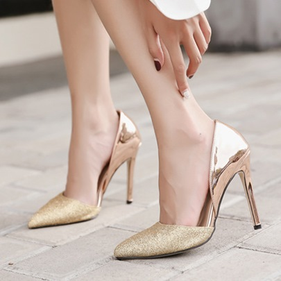 Metallic Shoes Patchwork Banquet Shoes High Heel Pumps