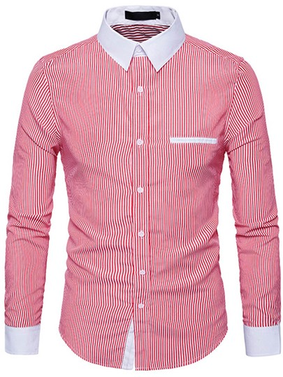 Lapel Fine Stripe Color Block Slim Fit Men's Button Shirt