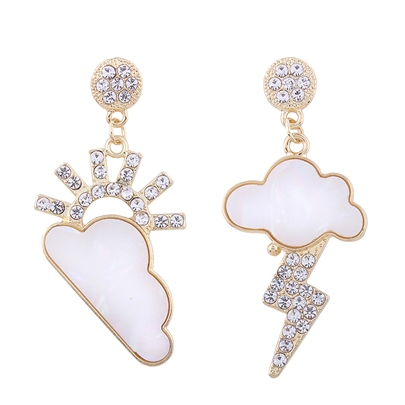 Weather Sign Sunny Cloudy Lightning Rhinestone Golden Alloy Acrylic Earrings