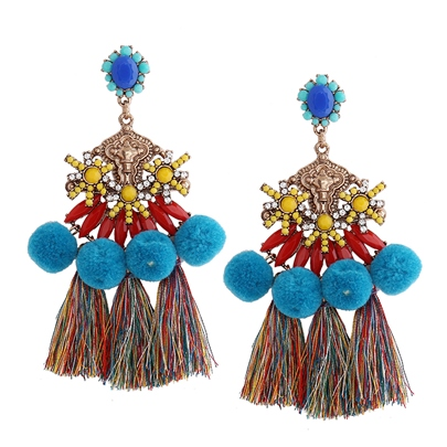 Multicolor Resin Beads Gold-Tone Alloy Diamante Pom Pom Tassel Earrings