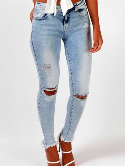 Slim Tassel Worn Stretchy Hole Women's Jeans