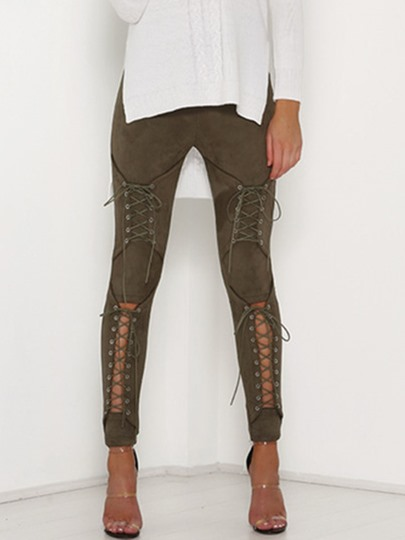 Skinny High-Waist Lace-Up Hollow Women's Pants