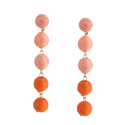Long Bunch Wax Balls Polishing Metal Korean Tassel Earrings