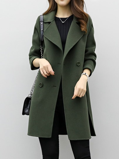 Double-Breasted Fleece Solid Outer Coat Women's Winter Overcoat