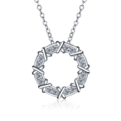 X Type Diamante Ring Cubic Zirconia Necklace