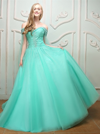 Off-the-Shoulder Beading Court Train Quinceanera Dress