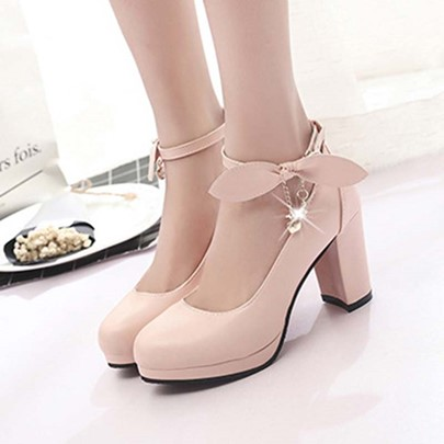 Bowtie Line-Style Buckle Chunky Heel Pumps for Women