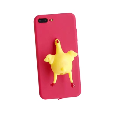 iPhone X/8/8 Plus/7 Plus/7 Case Laying Hens,Funny Squeezable Hens Shell