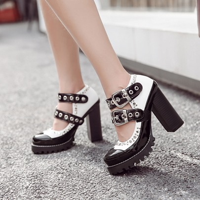 Buckle Hollow Platform Rivet Chunky Heel Shoes for Women