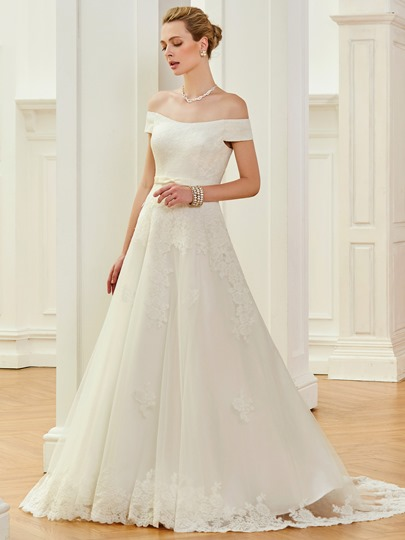 A-Line Off the Shoulder Appliques Lace Wedding Dress