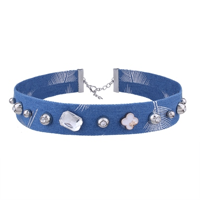 Diamante Lake Blue Denim Romantic Choker Necklaces