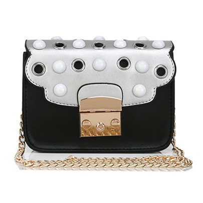 Trendy Bowtie Adornment Color Block Cross Body