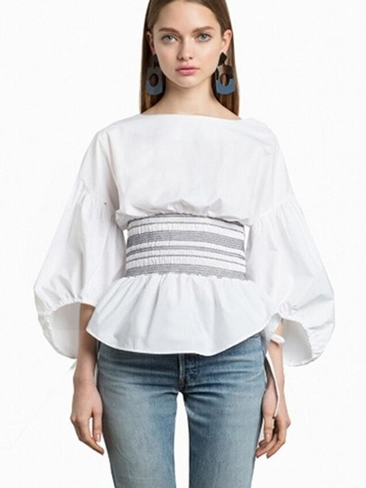 Lantern Sleeve with Tie Waist Falbala Women's Blouse