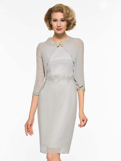 Column Appliques Mother of the Bride Dress with Jacket