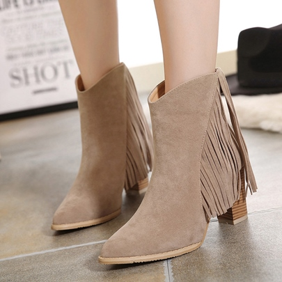 Zip Fringe Suede Chunky Ankles Boots for Women