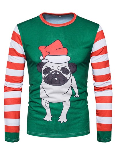 Round Collar Christmas 3D Patchwork Dog Printed Slim Fit Men's T-Shirt