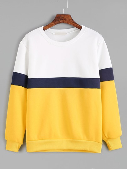 Round Neck Color Block Pullover Women's Sweatshirt