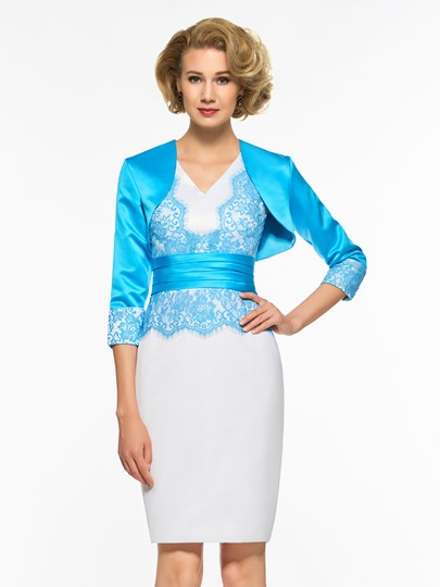 V-Neck Lace Sheath Mother of the Bride Dress with Jacket