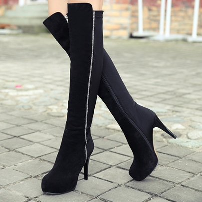Side Zipper Platform Rhinestone Fashion Knee High Boots for Women