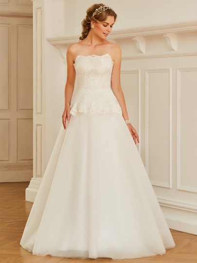 Strapless Lace Top Ivory Tulle Wedding Dress