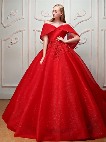 Appliques Beading Pearls Off-the-Shoulder Quinceanera Dress