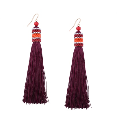 Resin Color Block Sees Beads Long Alloy Stud Tassels Earrings