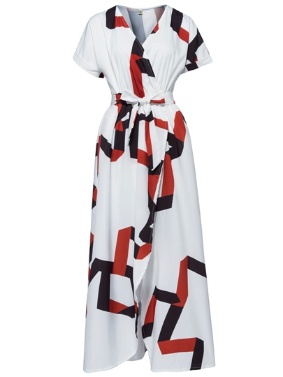 V-Neck Geometric Pattern Vacation Women's Maxi Dress