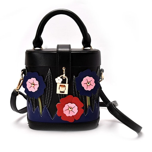 Particular Color Block Bucket Shape Cross Body Bag